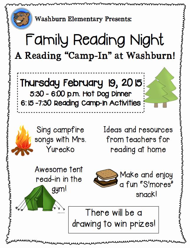 Family Fun Night Flyer Template Inspirational Family Reading Night Rmersch