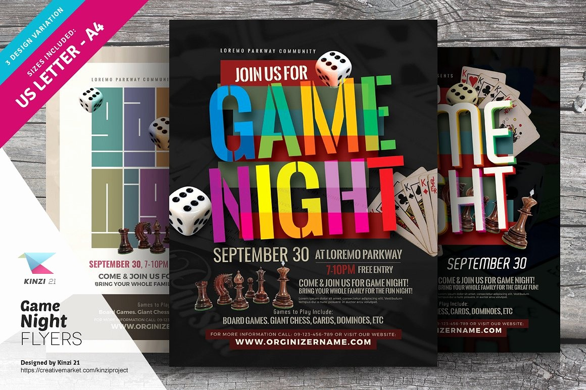 Family Fun Night Flyer Template Lovely Game Night Flyer Templates Flyer Templates Creative Market