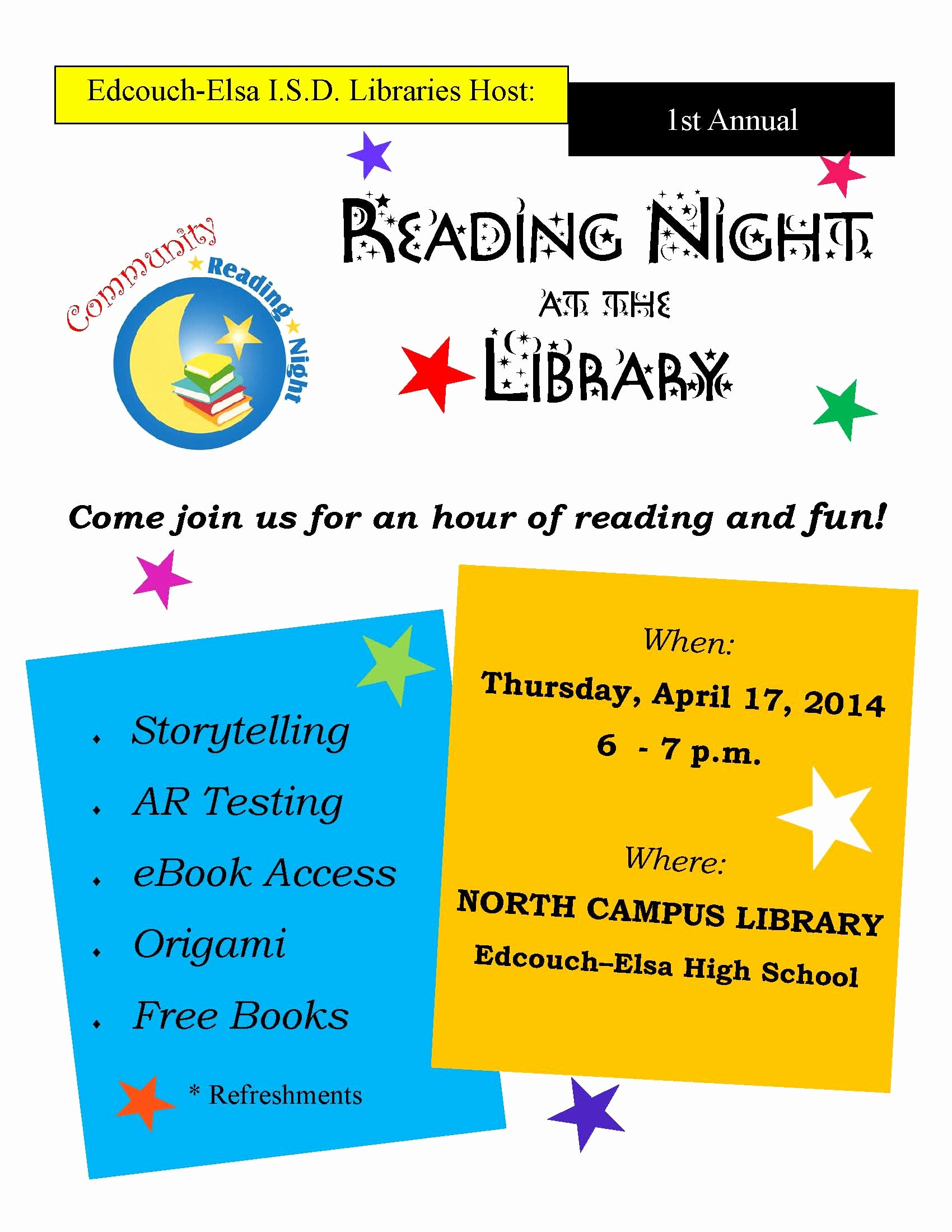 Family Fun Night Flyer Template Luxury Munity Reading Night at the Library Edcouch Elsa