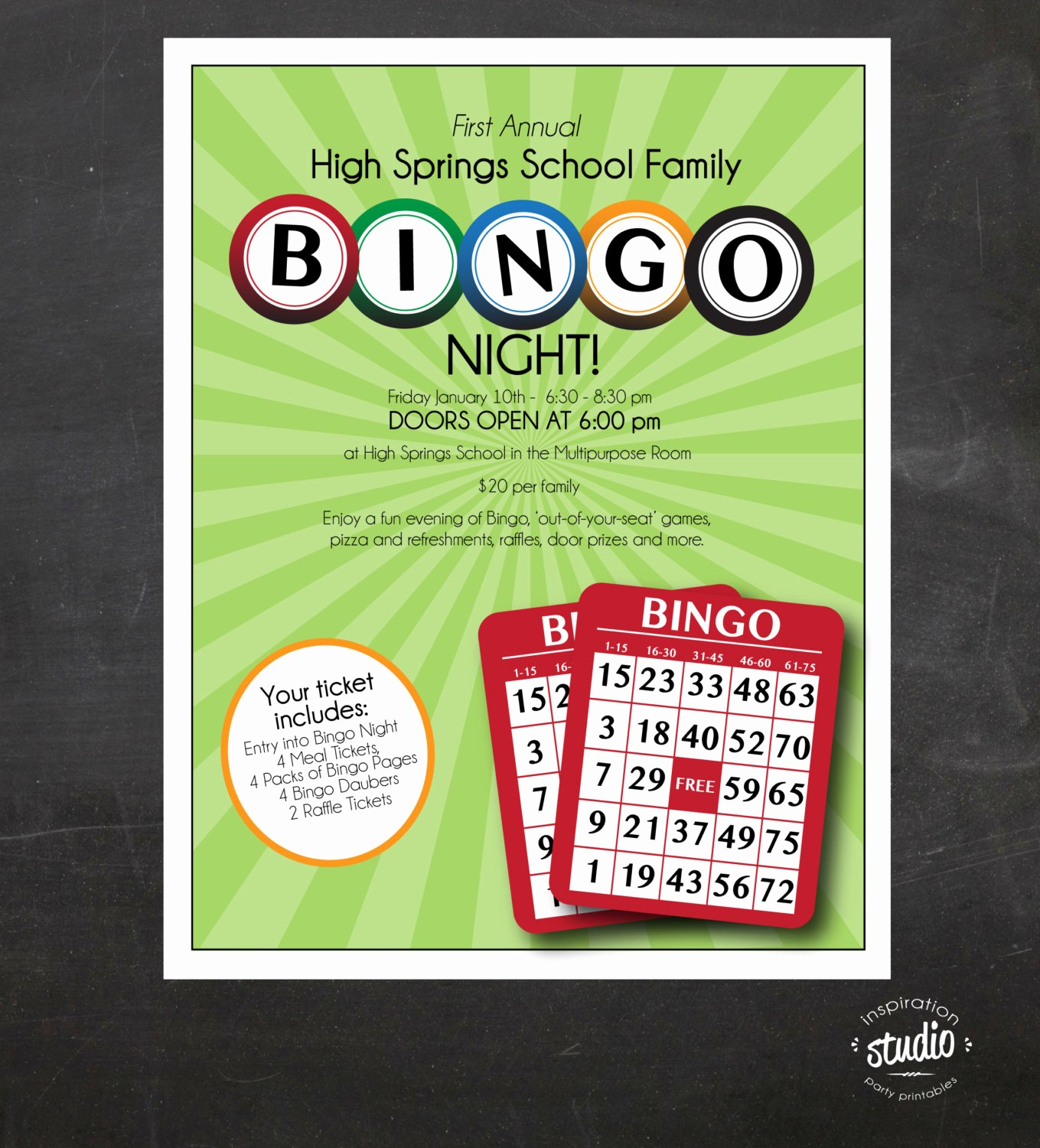 Family Fun Night Flyer Template Unique Bingo Night Flyer Family Mother son Night School or Church