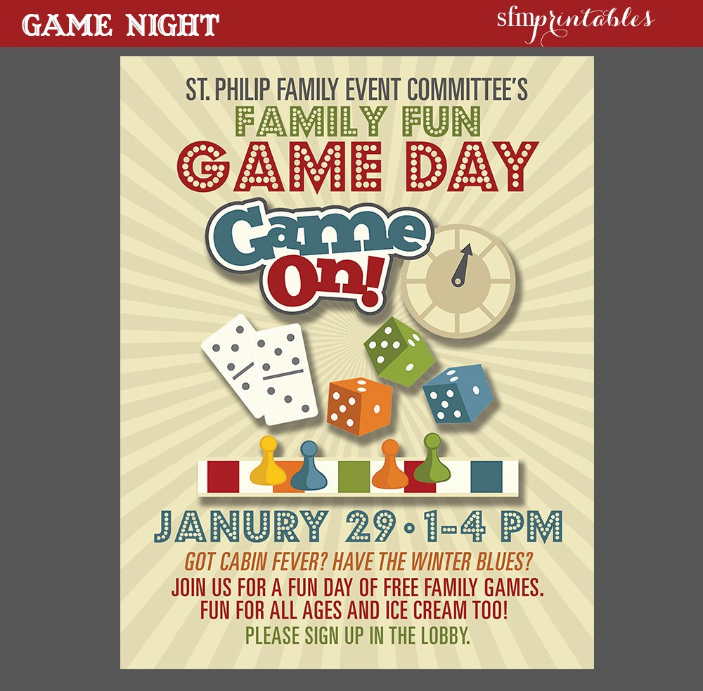 Family Fun Night Flyer Template Unique Game Night Poster Fun Dice Template Church School Munity