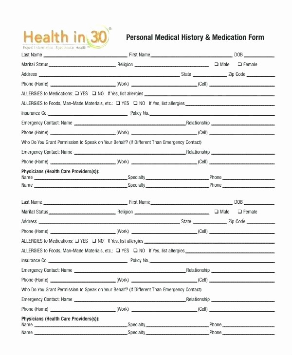 Family Health History form Template Beautiful Health History Template Personal Medical History Template