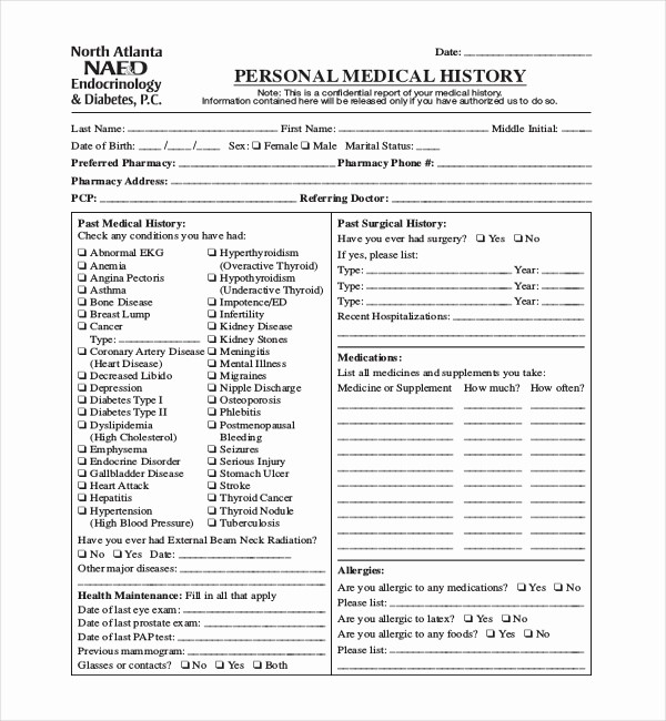 Family Health History form Template Best Of 21 Sample Medical History forms