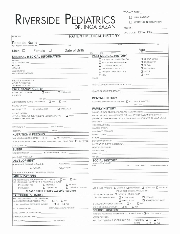 Family Health History form Template Unique Health History Template