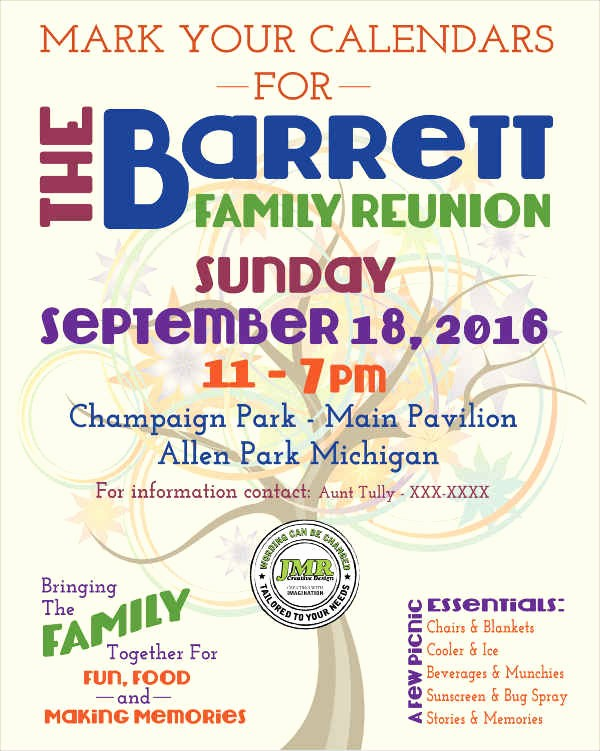 Family Reunion Flyer Templates Free Awesome Flyer Designs