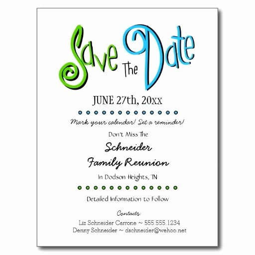 Family Reunion Flyer Templates Free Luxury Fun Family Reunion or Party Save the Date Postcard