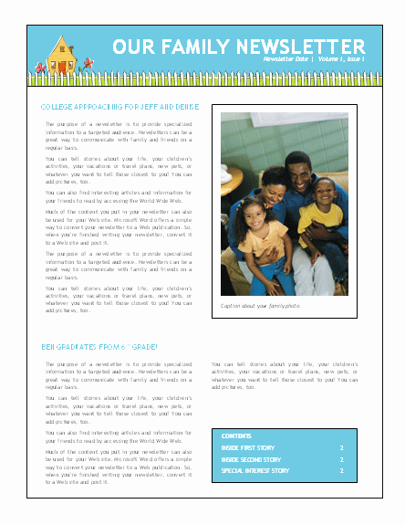 Family Reunion Newsletter Templates Free Awesome Family Newsletter