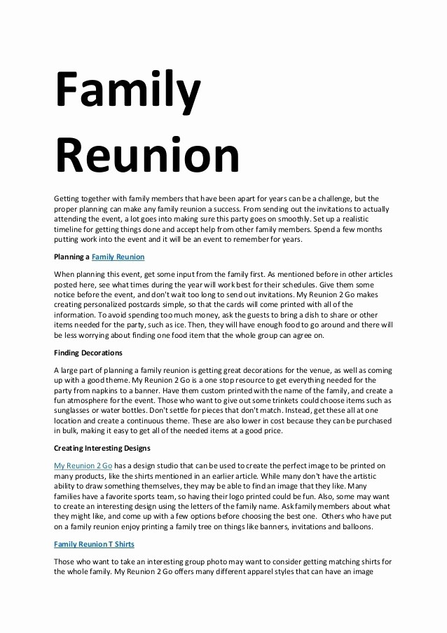 Family Reunion Newsletter Templates Free Best Of Family Reunion Letters Template Free Download Aashe