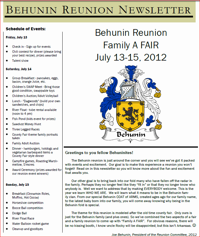 Family Reunion Newsletter Templates Free Inspirational Family Reunion Newsletter Template to Pin On
