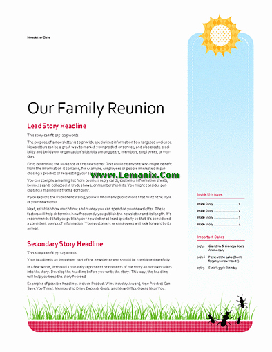 Family Reunion Newsletter Templates Free Lovely Family Reunion Newsletter Publisher Templates for