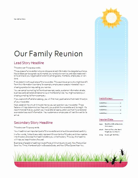 Family Reunion Newsletter Templates Free Luxury Family Reunion Newsletter Template Google Search
