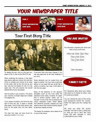 Family Reunion Newsletter Templates Free New Reunion or Birthday Front Page 3 Columns