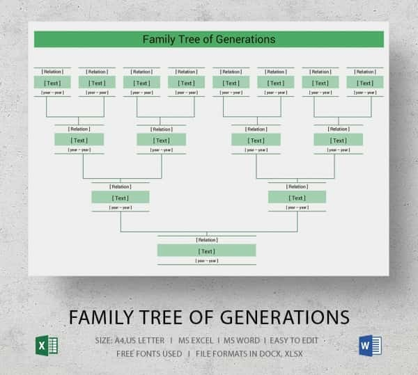 Family Tree Template 5 Generations Elegant Simple Family Tree Template 25 Free Word Excel Pdf