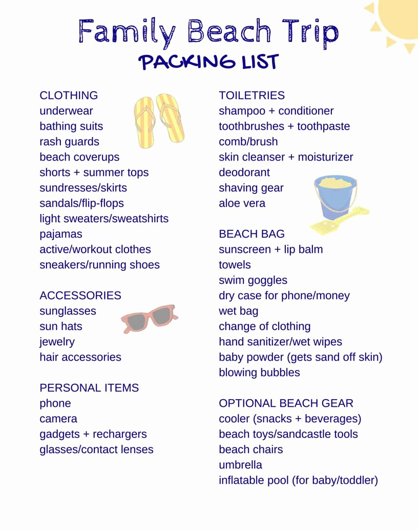 Family Vacation Packing List Template Awesome Free Printable Packing List for Family Beach Vacations