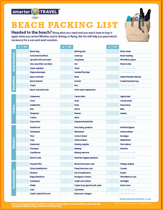Family Vacation Packing List Template Best Of 5 Vacation List
