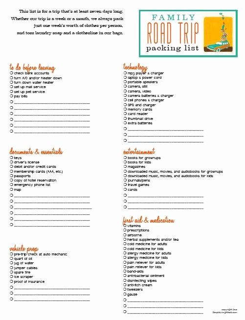 Family Vacation Packing List Template Best Of Family Roadtrip Checklist I Travel A Lot for Work and We