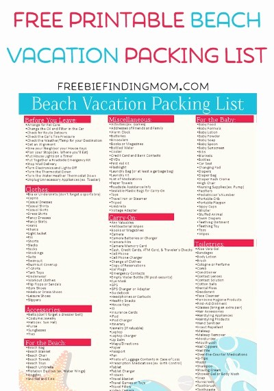 Family Vacation Packing List Template Best Of Free Printable Beach Vacation Packing List