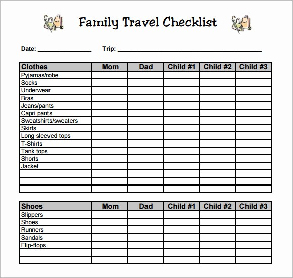 Family Vacation Packing List Template Elegant 9 Travel Checklist Samples