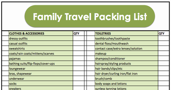 Family Vacation Packing List Template Elegant Family Travel Packing List with Printable