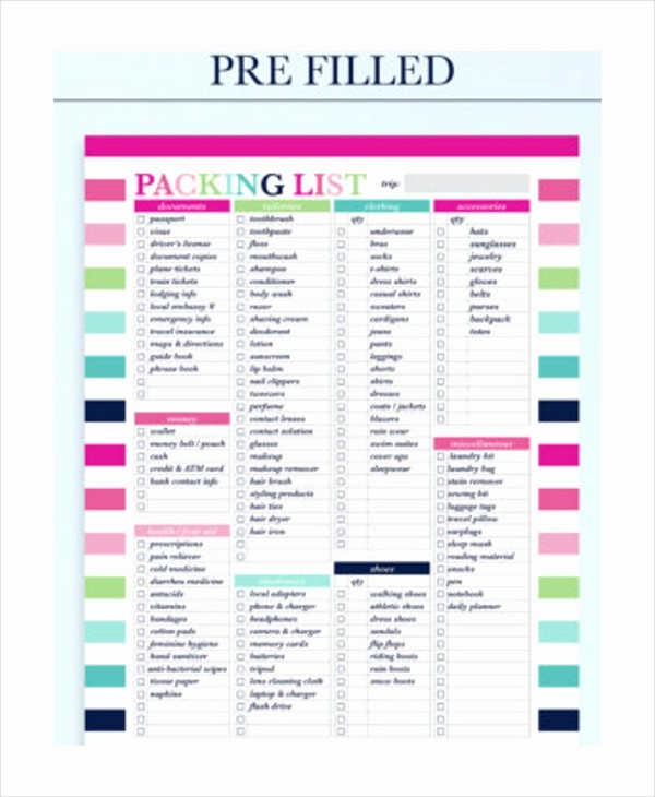 Family Vacation Packing List Template Inspirational Travel Packing List 10 Free Word Pdf Psd Documents