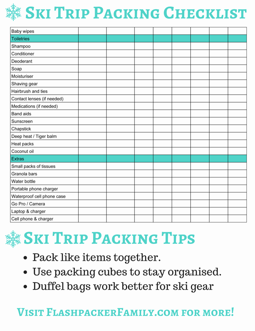 Family Vacation Packing List Template Lovely the Plete Ski Trip Packing List Printable Download