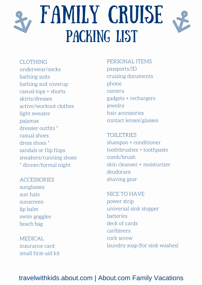 Family Vacation Packing List Template New Free Printable Packing List for Family Cruise Vacations