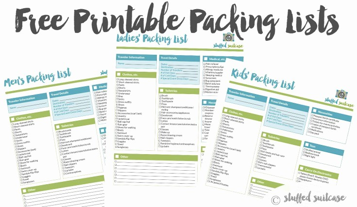 Family Vacation Packing List Template New Packing List Template Printable Stuffed Suitcase
