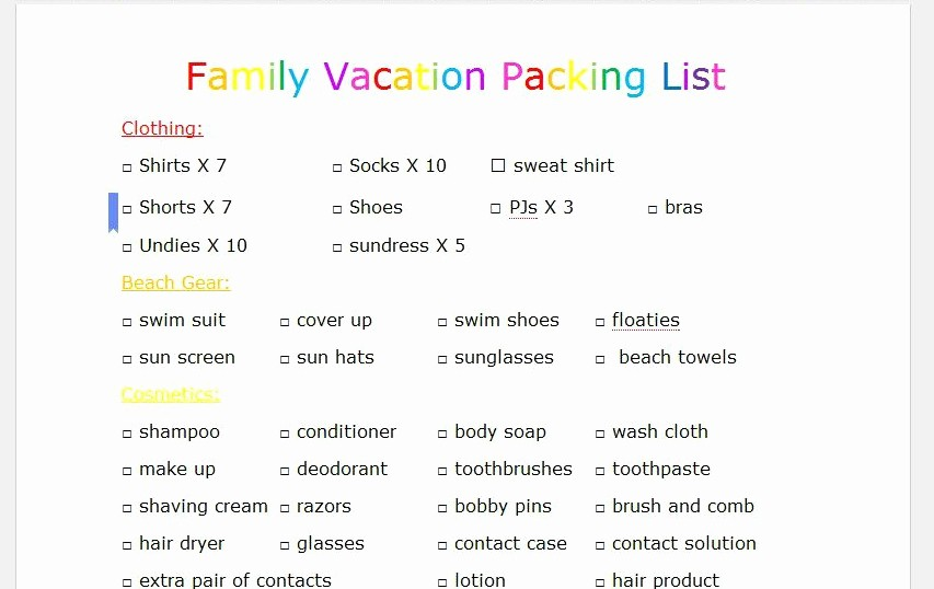 Family Vacation Packing List Template Unique Family Vacation Packing List Beatnik Kids
