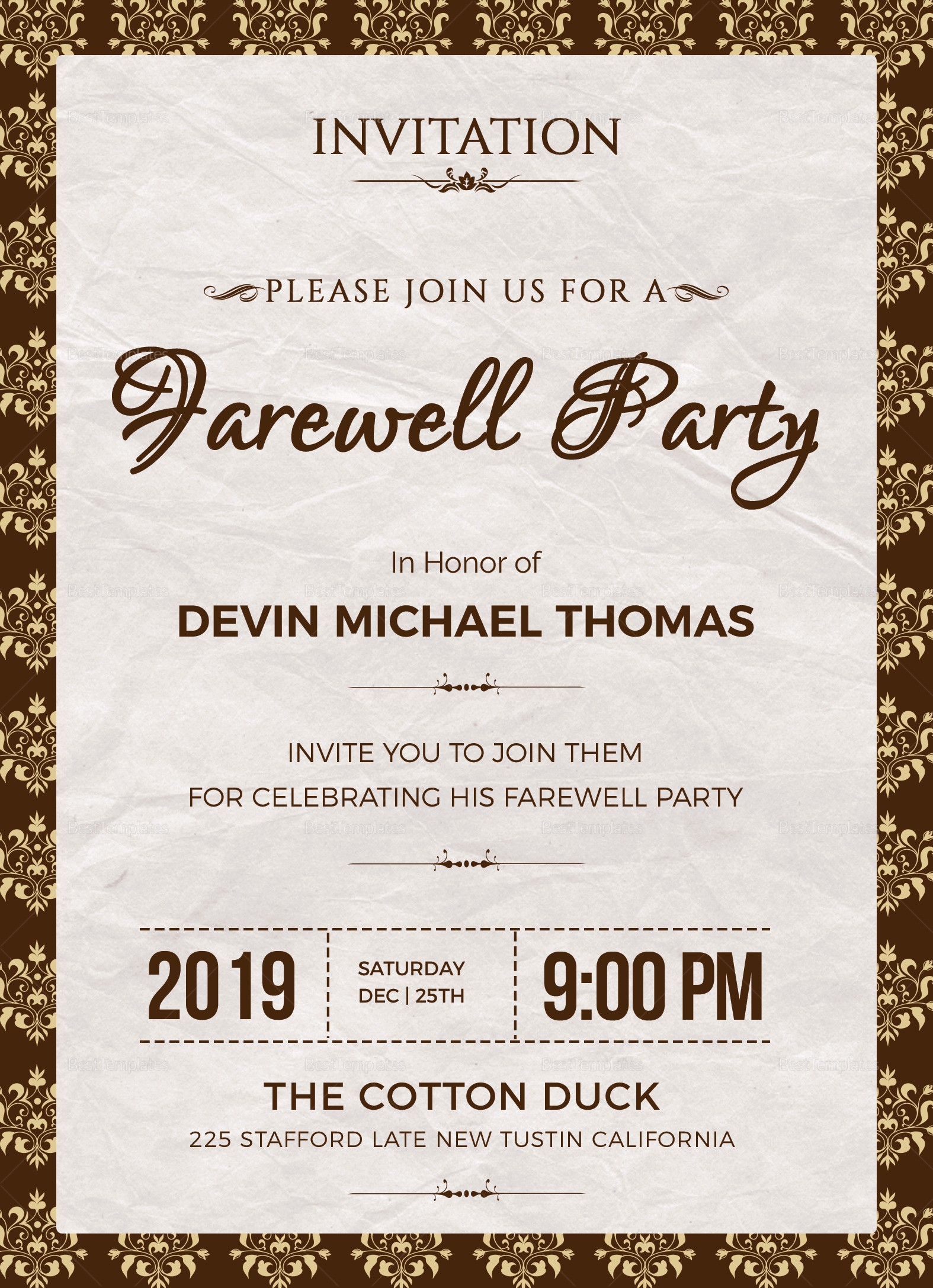 Farewell Party Flyer Template Free Awesome Farewell Invitation Design Template In Word Psd Publisher