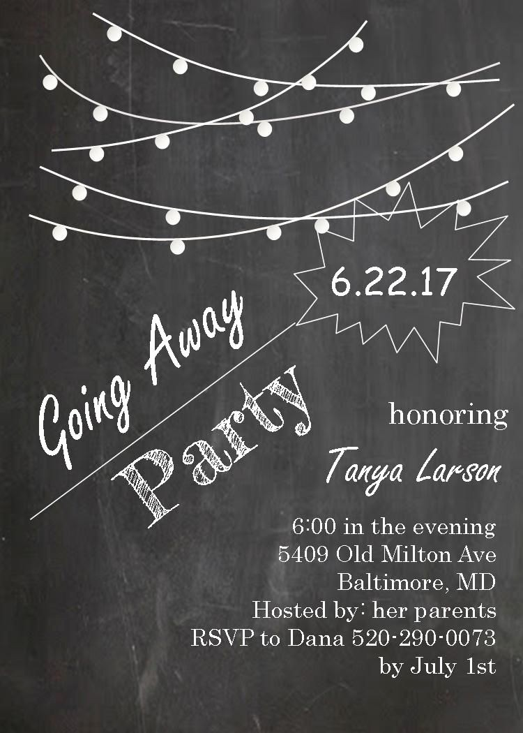 Farewell Party Flyer Template Free Inspirational Going Away Party Invitations Farewell Blackboard with