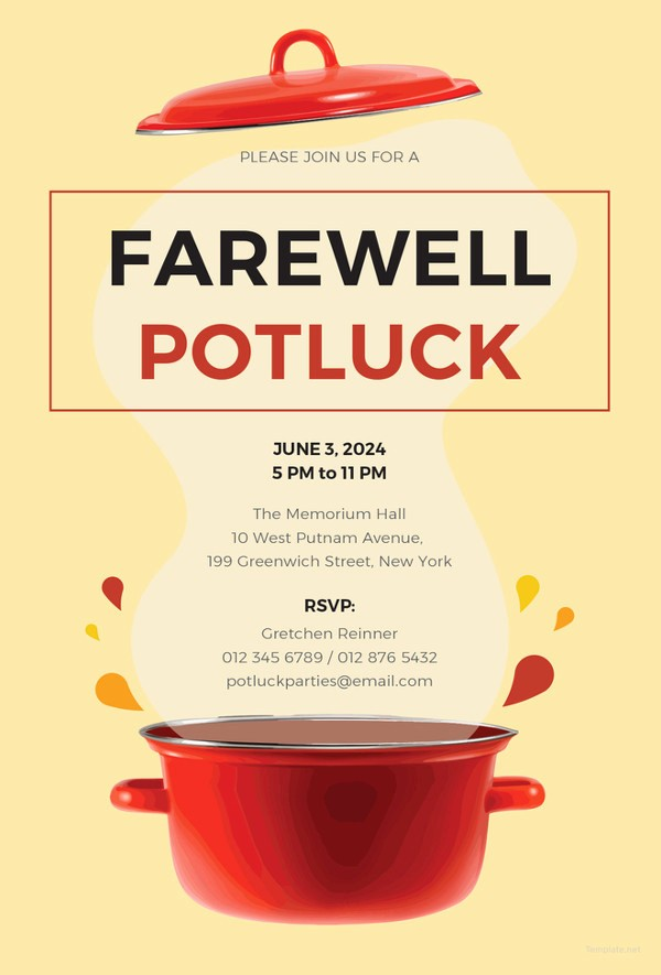 Farewell Party Flyer Template Free Lovely 10 Potluck Email Invitation Templates Psd Ai