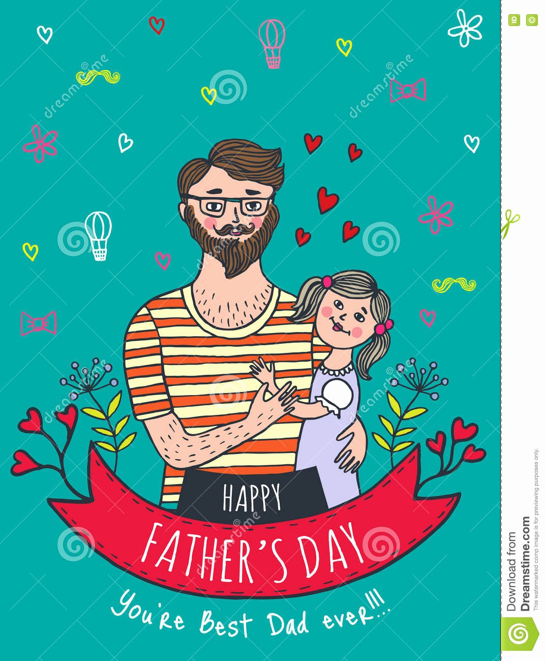 Fathers Day Card From Daughters Best Of Happy Father S Day Card with Dad and Daughter Stock