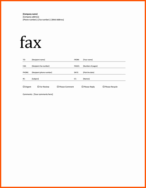Fax Cover Sheet Microsoft Office New Microsoft Fax Template Baskanai