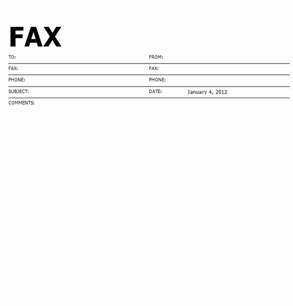 Fax Cover Sheet Pdf format Beautiful Standard format Fax Cover Sheet