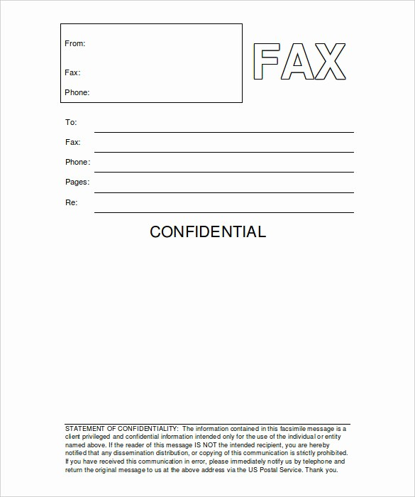 Fax Cover Sheet Pdf Free Fresh Confidential Fax Cover Sheet Word format Sampleprintable