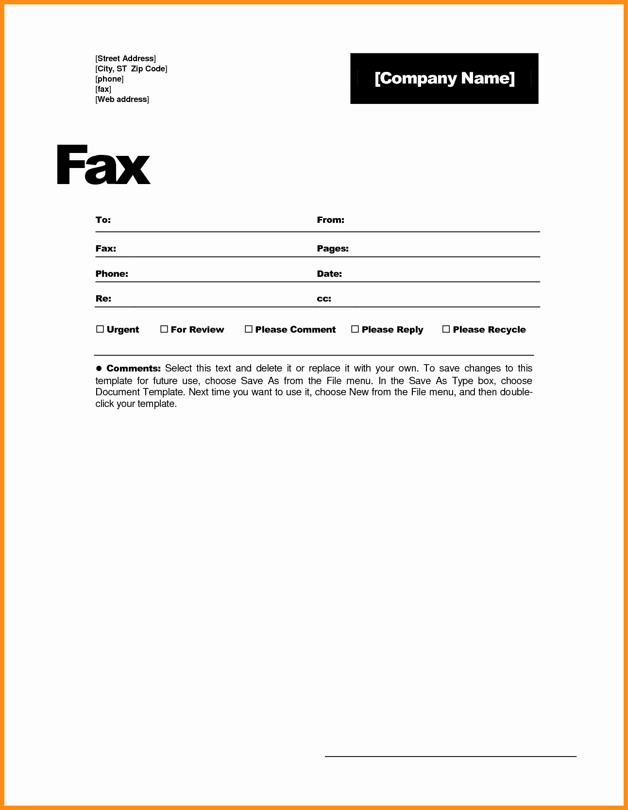 Fax Cover Sheet Printable Free New 6 Free Fax Cover Sheet Template Word