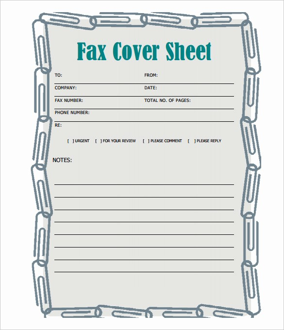 Fax Cover Sheet Printable Free New No Simple