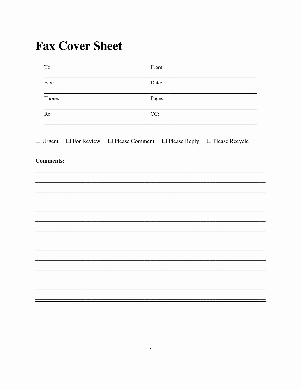 Fax Cover Sheet Sample Template Fresh 10 Best Of Fax Cover Page Template Fax Cover