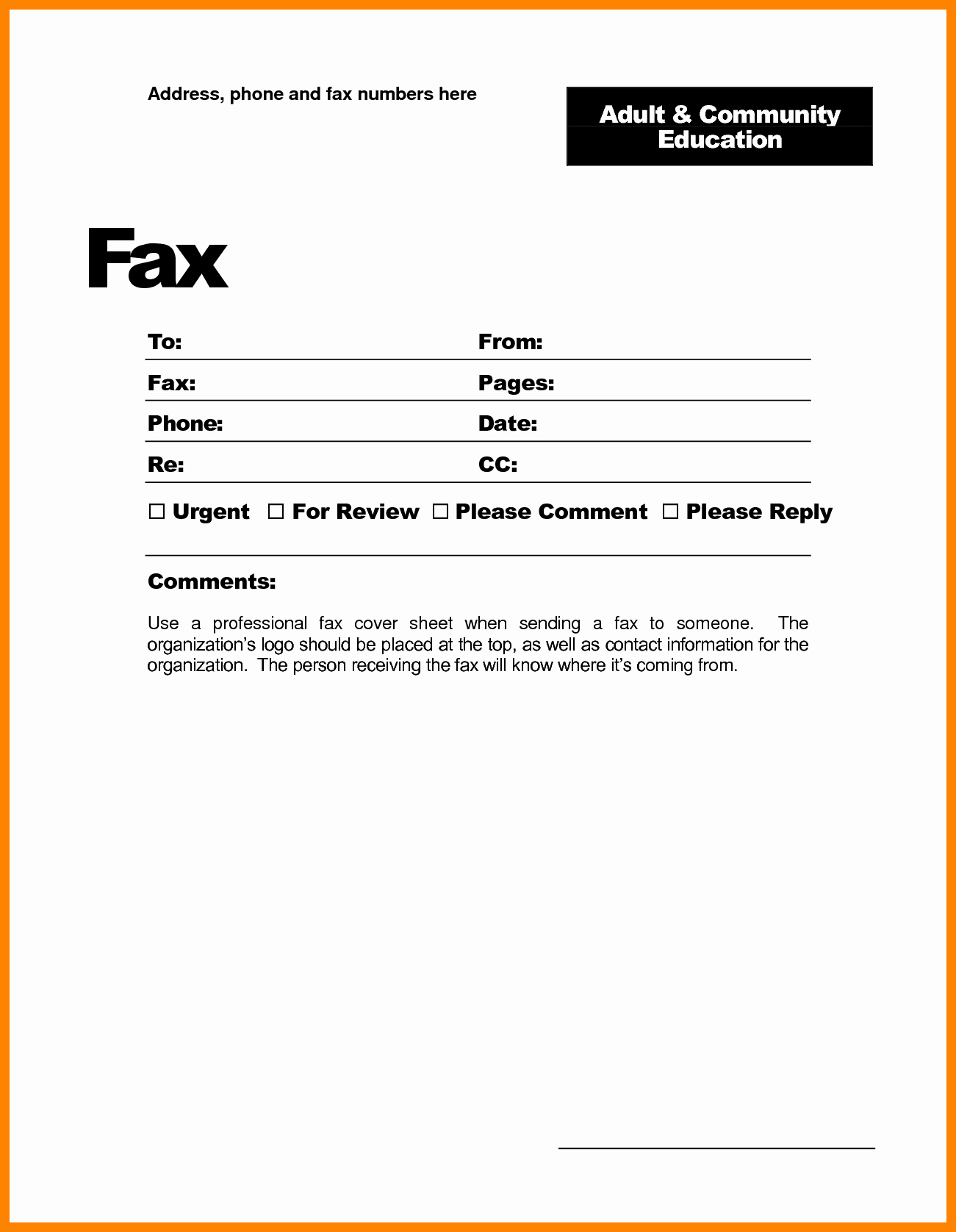 fax cover template word