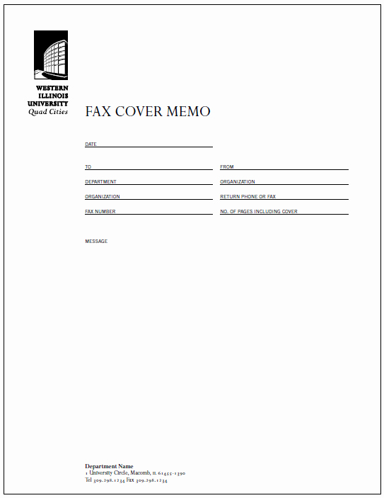 Fax Cover Sheet with Logo Beautiful ordering Visual Identity Guidelines Western Illinois