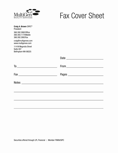 Fax Cover Sheet with Logo Fresh Cale Burr Graphic Artist Bellingham Wa