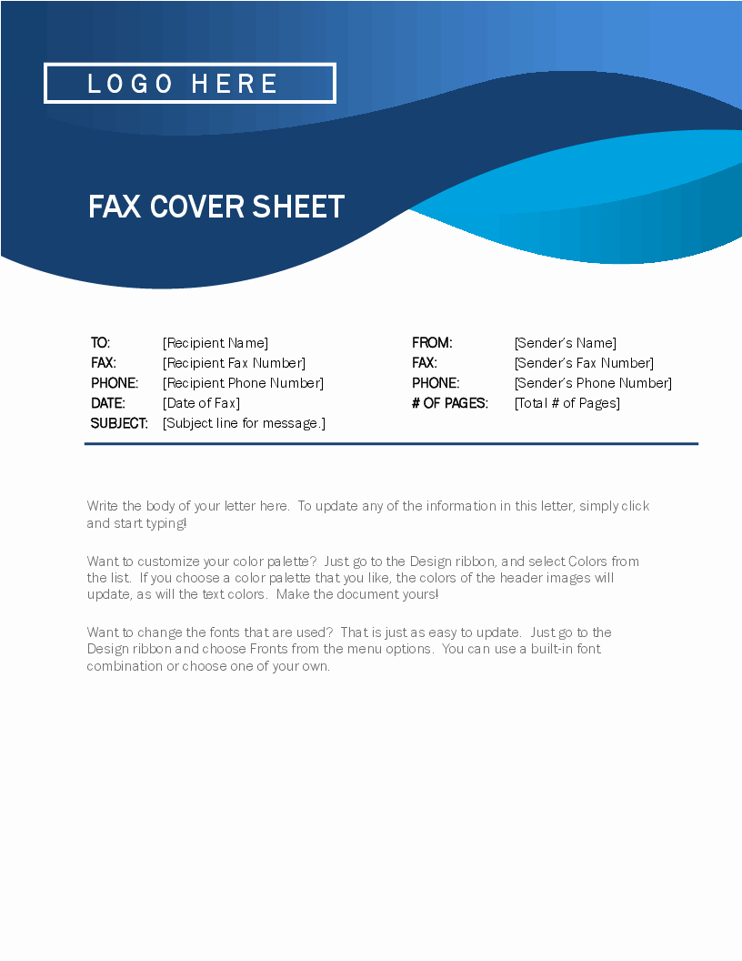 Fax Cover Sheet with Logo Luxury Fax Covers Fice