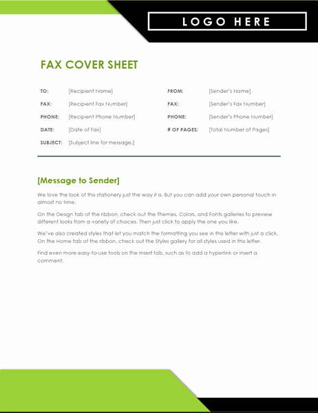 Fax Cover Sheet with Logo Unique Fax Cover Sheet