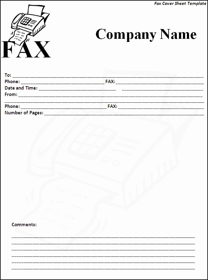 Fax Cover Sheet Word Template Luxury 6 Fax Cover Sheet Templates Excel Pdf formats