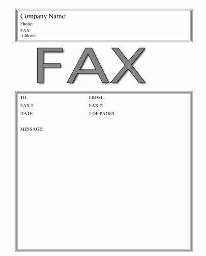 Fax Front Cover Sheet Template Elegant Microsoft Fax Cover Sheet