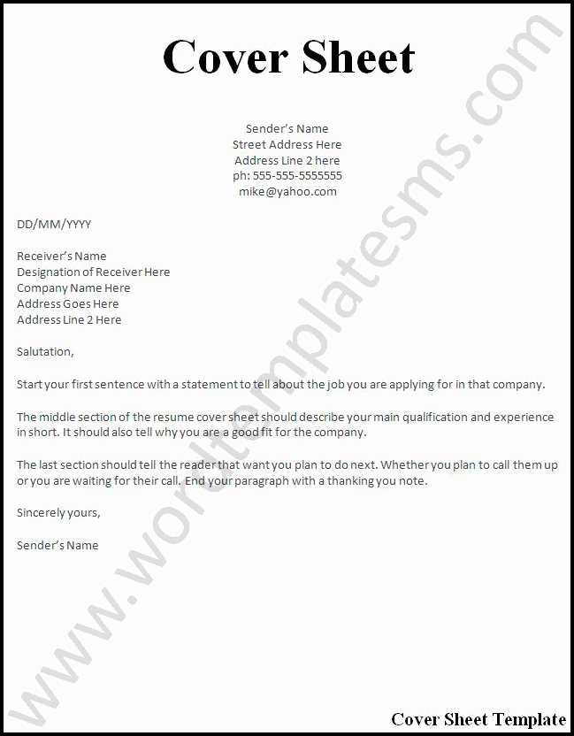 Fax Front Cover Sheet Template Inspirational Cover Page Template