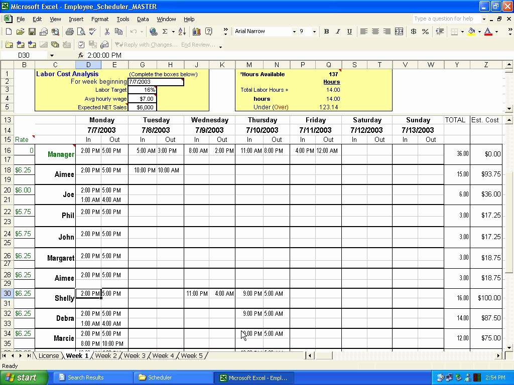 Fee Schedule Template Microsoft Office Awesome Employee Schedule Template Excel