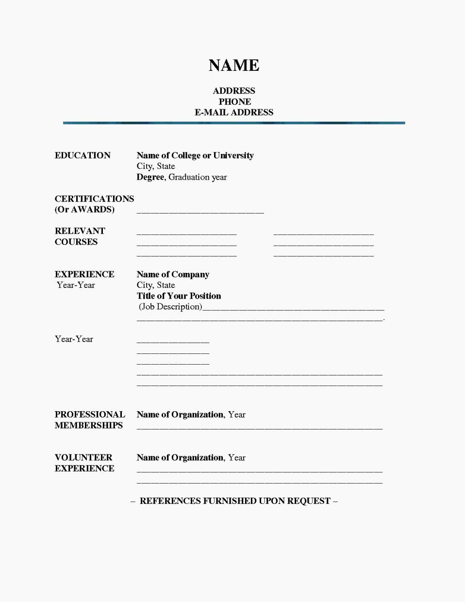 Fill In Resume Template Free Beautiful Fill In Blank Printable Resume Resume Template