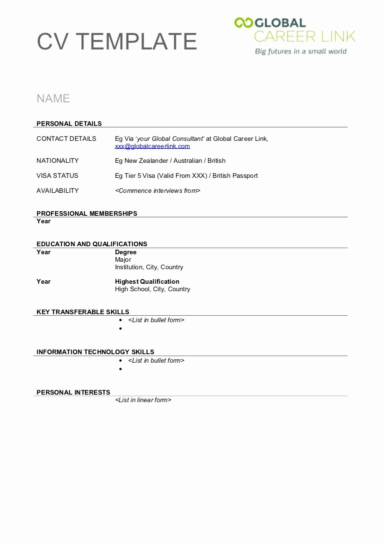 Fill In Resume Template Free Inspirational Blank Format