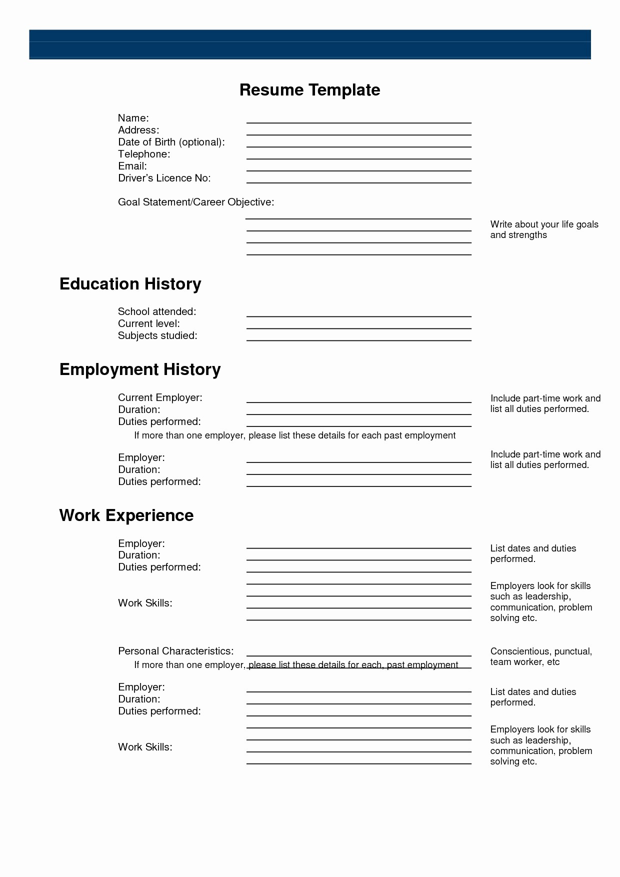 Fill In Resume Template Free Lovely Blank Sample Resume Eezee Merce
